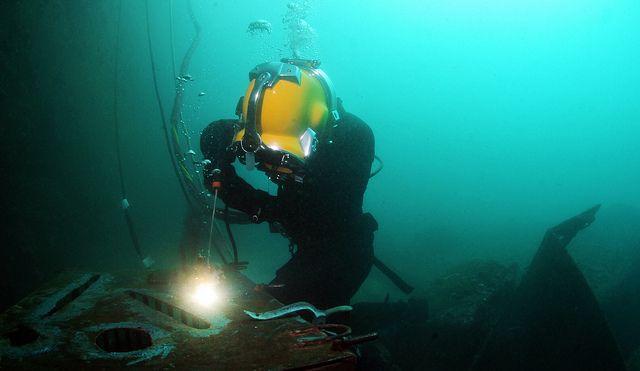 Underwater welding job. Doing a patch repair.