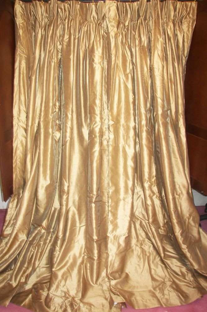 vtg custom french country modern gold silk patio door drapes curtains 8u0027 wide
