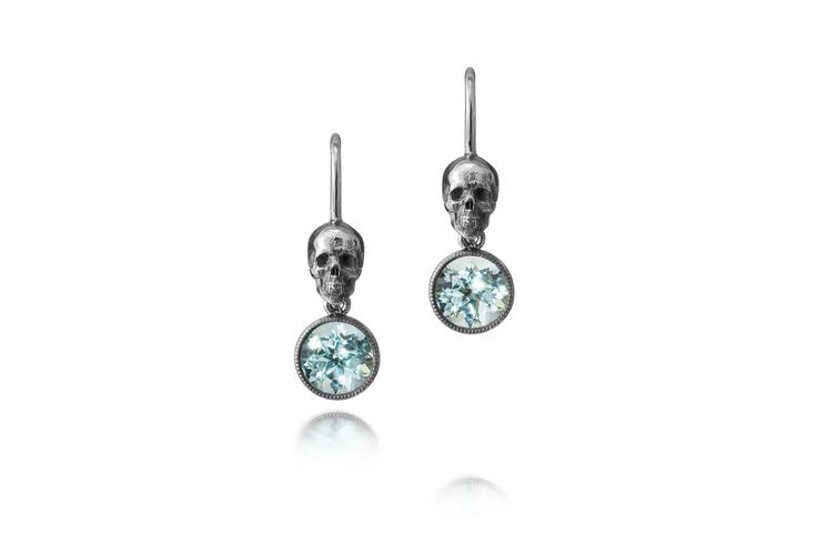 Unique skull earrings from 750 white gold, black rhodium, beryls 1.58ct. Price 1780€ (VAT 24%) Design Heidi Vornan Photo Mikael Pettersson