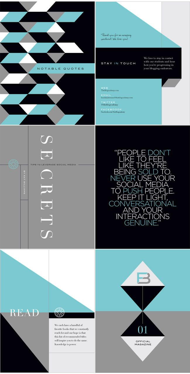 Blogcademy collateral design by Nubby Twiglet, via graphic design layout, identity systems and great type lock-ups.