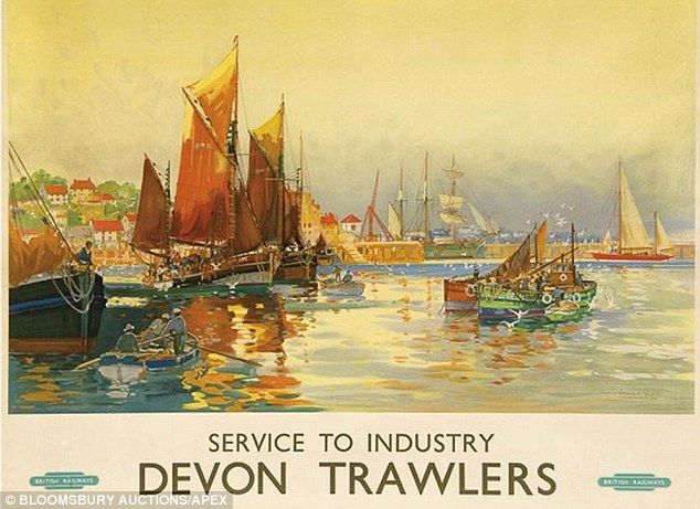 Devon Trawlers railway poster produced by artist Frank Henry Mason in about 1950