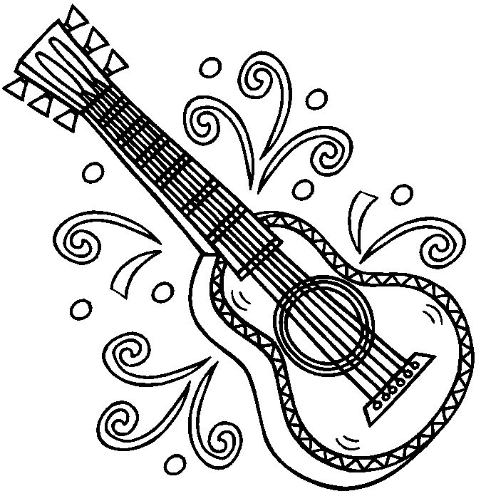 All Types Of Coloring Pages Musical Guitar Coloring