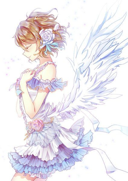 Anime picture 650x919 with  love live! school idol project sunrise (studio) koizumi hanayo luoye single tall image short hair breasts brown hair smile white fringe profile hair flower white wings girl dress flower (flowers) wings petals
