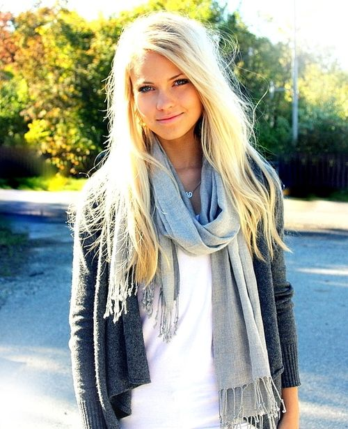 love everythingBlondes Hair, Hair Colors, Grey Sweater, Long Hair, Fall Winte, Tanks Tops, Grey Cardigan, Growing Hair, Fall Outfit