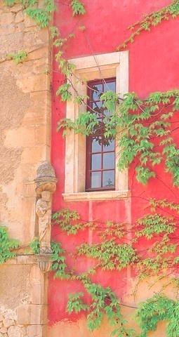 pink stucco window