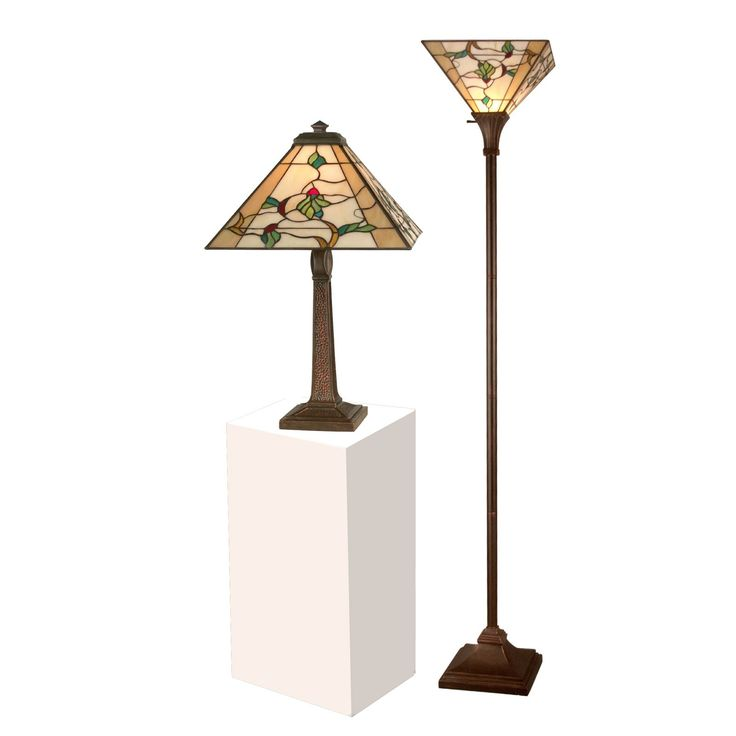 dale tiffany green leaves table and torchiere lamp set from