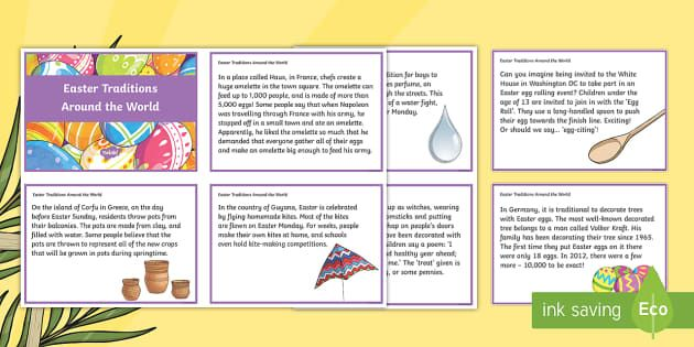What does a giant omelette have to do with Easter? Who is Volker Kraft and why is his apple tree famous? Why would you expect to get wet if you walked through Poland on Easter Monday? These 'Easter Traditions Around the World' themed discussion cards are a great way to get your pupils thinking about all the interesting ways that Easter is celebrated around the world.