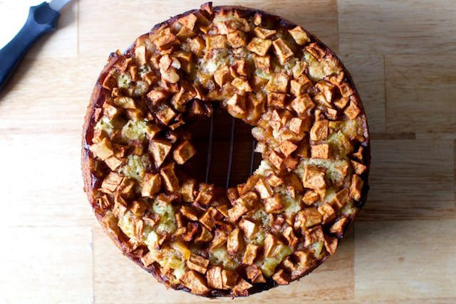 Mom's apple cake. Be sure to grease the pan very well, and use the full amount of sugar next time.