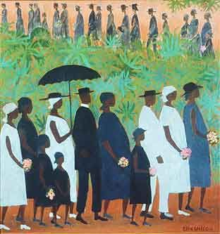 I have always loved this piece of art by Ellis Wilson.  It was in an episode of the Cosby Show and I always remembered it as a wedding.  Funny how things aren't as we thought they were.