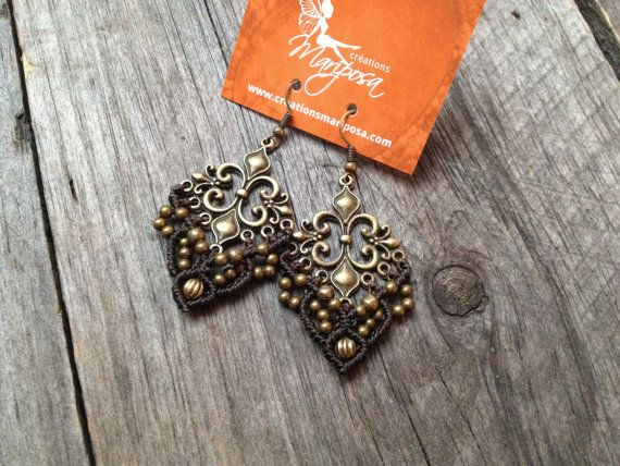 Macramé boho earrings fleur de lis You will receive 1 pair of earrings in antique brass finish, it will be made to order in the color of your
