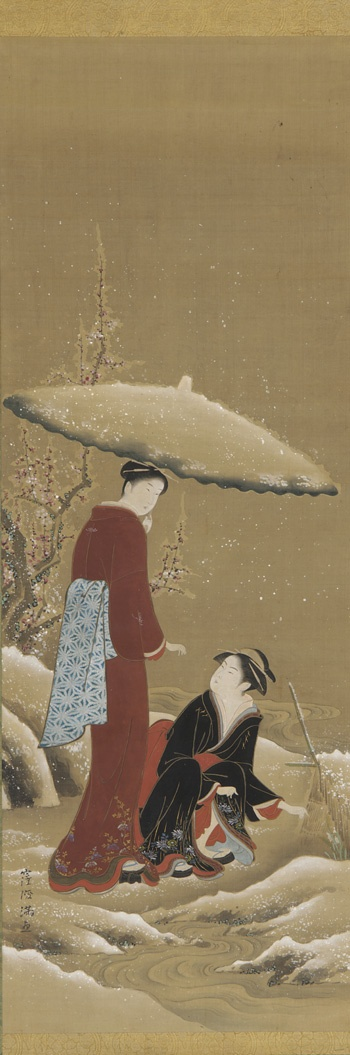 Winter: two women looking at a flower in the snow 19th century Kubo Shunman , (Japanese, 1757-1820) Edo period