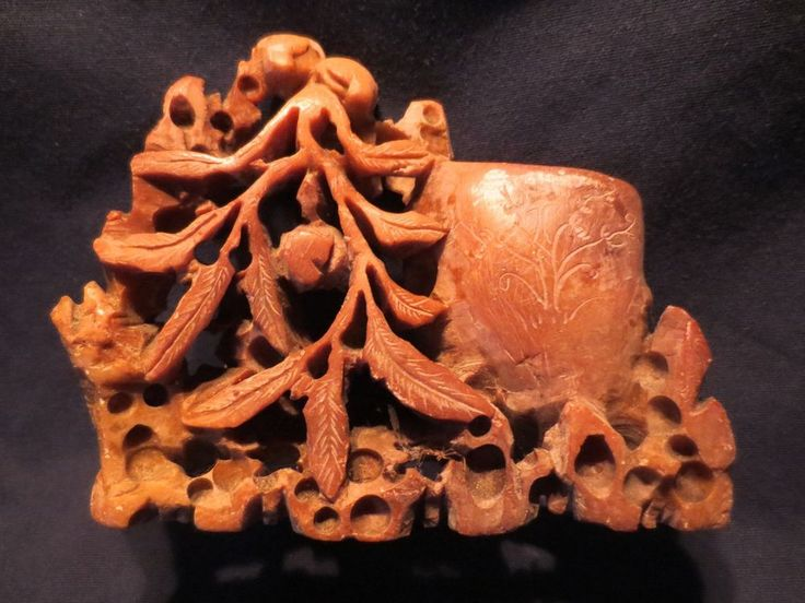 Vintage chinese hand carved red soapstone ink brush pot