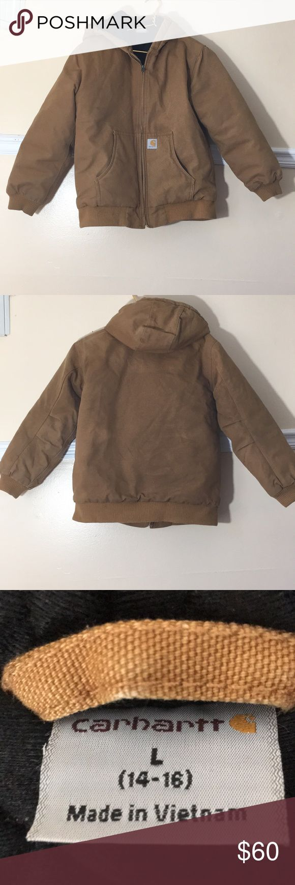 "Carhartt Active Jac ""Carhartt brown"" canvas jacket. Quilted lined. Is boys Large but fits a women's small. Only worn a handful of times. Machine washable. Like new Carhartt Jackets & Coats"