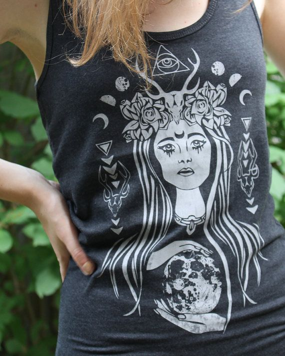 You may have noticed, I am NOT the type of woman who wears clothing with words or images, yet this The High Priestess Tank  Grey by PrintsandNeedles on Etsy, $20.00 is tempting!!!