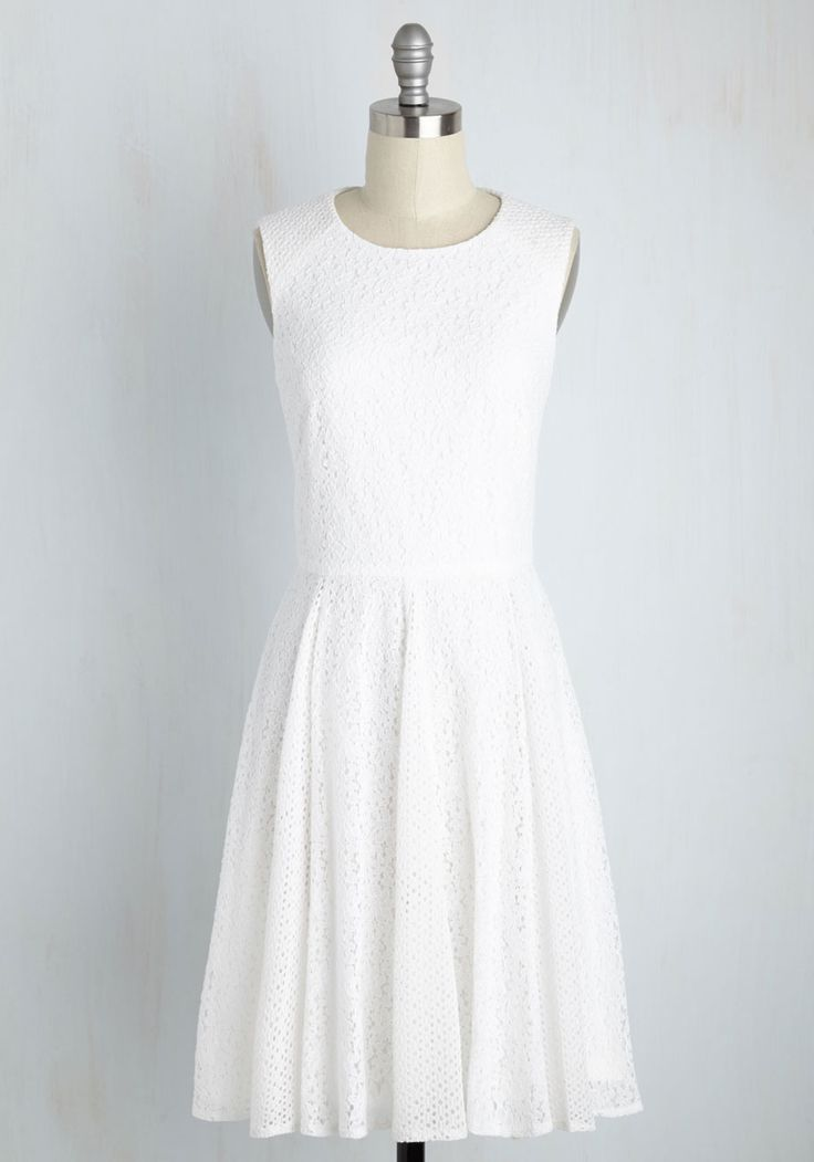 Celebratory Cordials Dress. With your amour holding one hand and a glass lifted in the other, you call the reception to a toast in this white dress. #white #modcloth