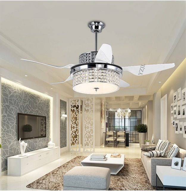 Ceiling fan modern crystal chandelier led restaurant with remote control inverter fans electric fan of the family living room