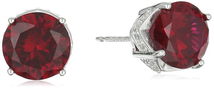 Rhodium Plated Sterling Silver Round Created Ruby 8mm and Crated White Sapphire Stud Earrings. Imported.