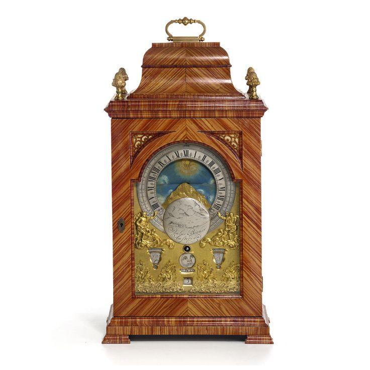 Reloj interesante y raro de  bronce dorado holandes MONTADO RELOJ ASTRONÓMICO TABLA DE KINGSWOOD, PAULUS BRAMER, ALREDEDOR DE 1740
