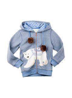 Girlswear Faux Fur Pompom Sweat Blue Marle sweat