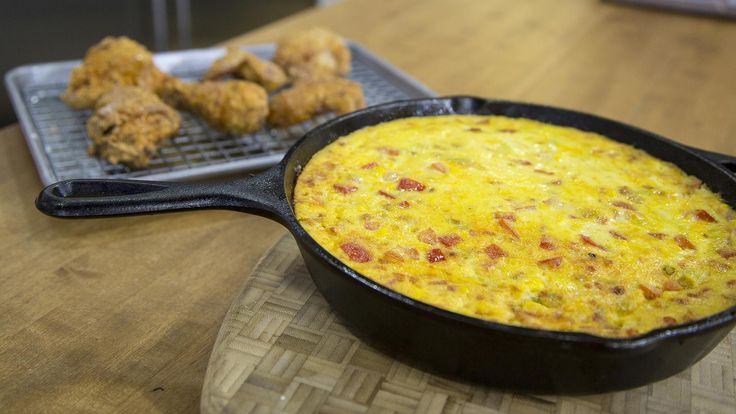 Sunny Anderson stops by the TODAY kitchen to show Sheinelle Jones, Craig Melvin and Dylan Dreyer how to make southern spoon bread, crunchy fried chicken and a breakfast casserole with bananas.