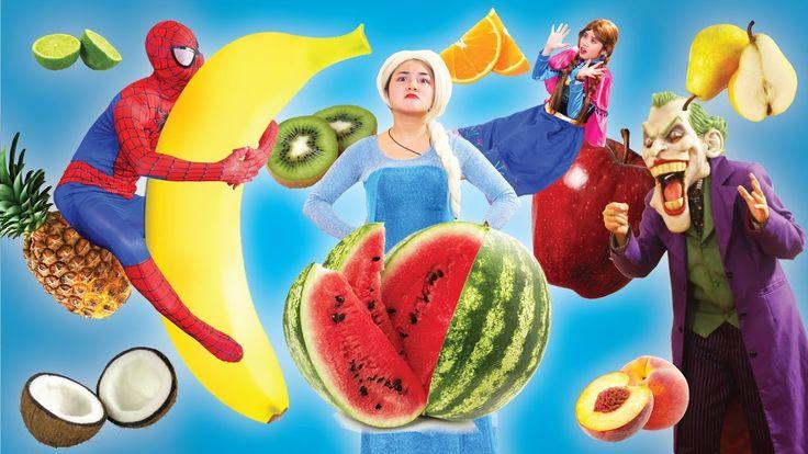Frozen Elsa & Spiderman AT SCHOOL Learn FRUIT, NUMBER, COLORS Fun Teache...