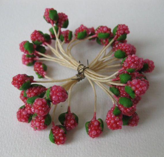Rare Vintage Stamens Mini Raspberries Millinery Floristry Doll Hats Doll House Ribbonwork Paris Antique Christmas Craft Trim 18 Double Pips