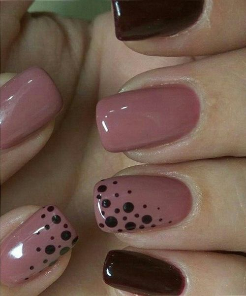 Fabulous Pink and Blood Red Dotted Nail Art Designs