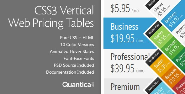 CSS3 Vertical Web Pricing Tables is a pack of Web Pricing Tables based on pure CSS3 that will let you to create pricing tables based on rows instead of columns. It comes with 10 predefined color skins, animated hover states and font-face fonts. Tags: css animations, grids, pricing table, pricing tables, tables, vertical, vertical grids, vertical table, web boxes, web elements.