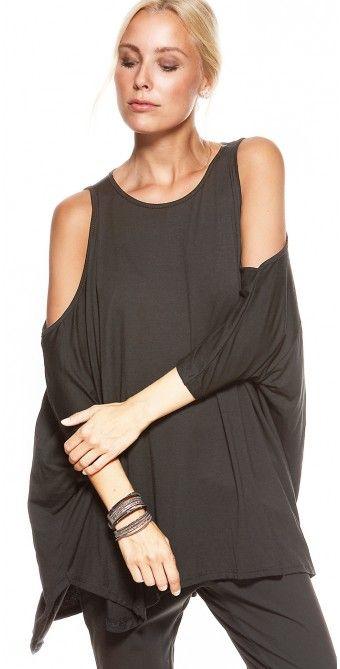 LikeLondon blus grå oversize cut out shoulder