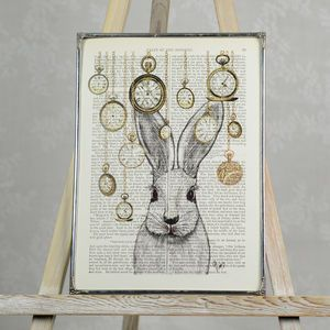 Rabbit In Wonderland Print - pictures & prints for children