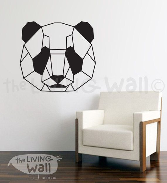geometric head panda wall decal sticker home decor head panda monochrome vinyl wall stickers australian made - Wall Decals Designs