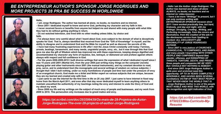SEJA #EMPRESÁRIO DOS #ESCRITOS E #PROJETOS DO #AUTORJORGERODRIGUES ou compre seus livros   Qualquer livro do #autorJorgeRodrigues no CLUBE DE AUTORES em média de R$ 27,00 pra você compra   qualquer #livro. Visite as duas páginas do autor.  TODO O MEU TRABALHO >>> https://pt.scribd.com/doc/258750223/Meu-Curriculo-My-Resume DIVERSOS GÊNEROS ( #Romances, #Monografias, Instrumentos musicais, #Manuais) #ARTE MARCIAL   #SIMFUJE http://clubedeautores.com.br/authors/63447 ARTE MARTIAL #SIMFUJE…