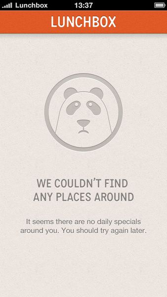 Empty state for Lunchbox - a daily lunch locator.... - Empty States #ui #patterns #mobile