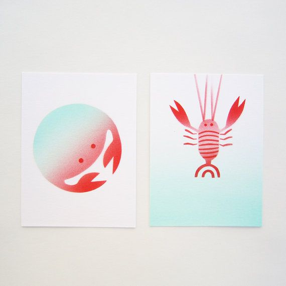 2 gift cards funny green red seafood animal