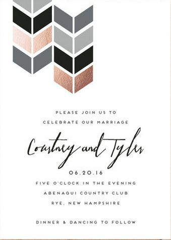 Modern Invitation Suite With Rose Gold And Grey Palette