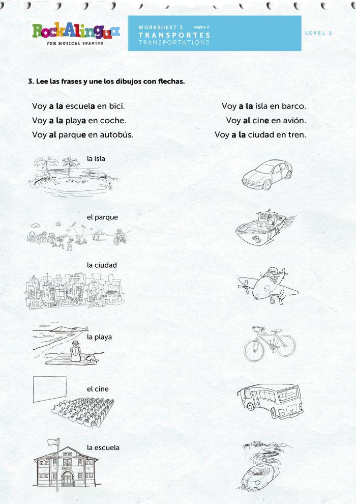 means of transportation worksheet rockalingua spanish worksheets for kids transportation. Black Bedroom Furniture Sets. Home Design Ideas