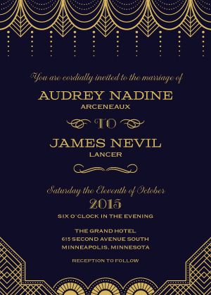 "Great Gatsby Wedding Theme - Old Hollywood - Black & Gold Wedding Invitation - ""Vintage Glamour"" - 1920s - Designed by Lauren DiColli Hooke"