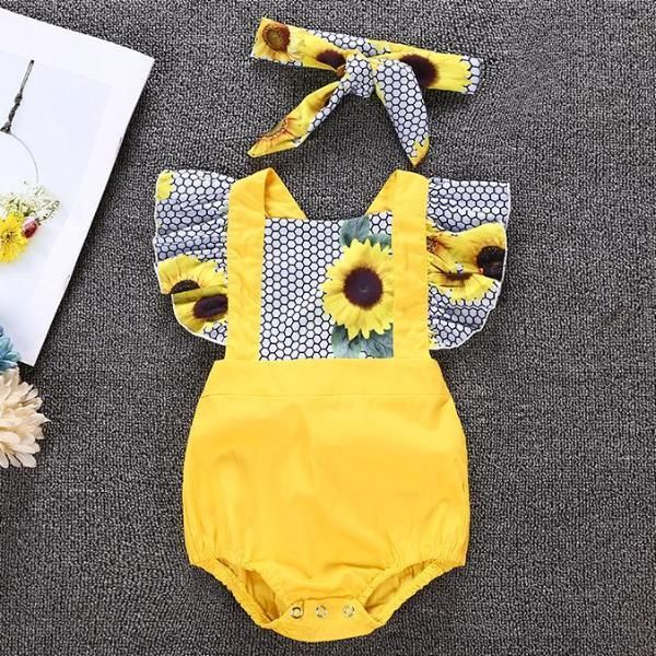 Sunflower Print Ruffle Bodysuit with Headband for Baby Girl – diy clothes