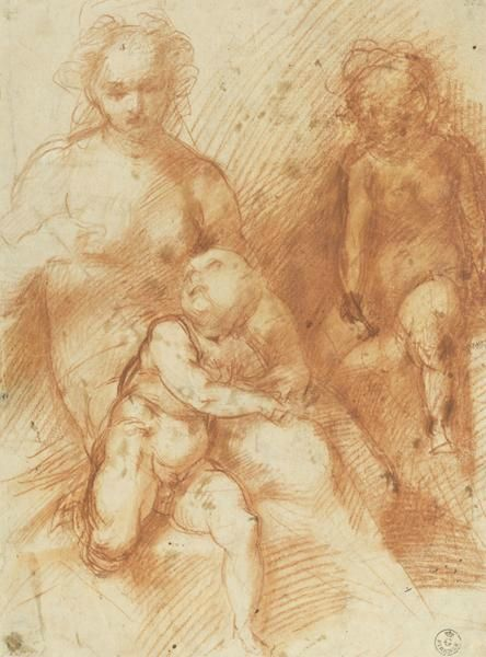 michelangelo drawing madonna and child 1525 - 444×600