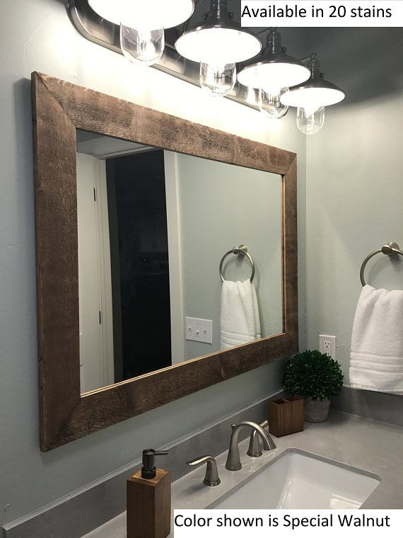 Shiplap Reclaimed Wood Mirror Shown In Special Walnut 4 Sizes