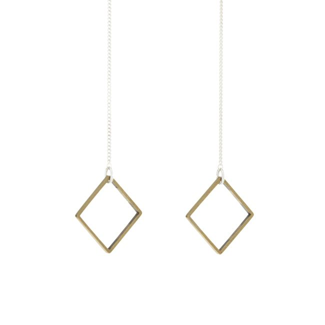 Silver Drop Earrings with Brass Square