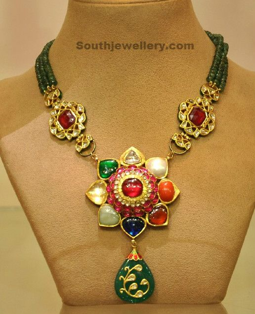 Beads Navratan Necklace - Indian Jewellery Designs South Jewellery