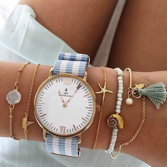 summer details. nautical. bracelets. stripe anchor watch. shells.