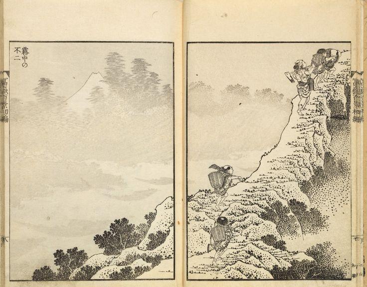 Cent vues du mont Fuji Fugaku Hyakkei|Le Mont Fuji est un autre des paysages récurrents des œuvres d'Hosukai. Alors que la plupart des artistes de l'époque utilisaient le Mont Fuji comme une carte postale, Hokusai avait un rapport différent de ses contemporains.«Il s'intéressait à la manière dont un même motif traversait différentes périodes», explique Laure Dalon.