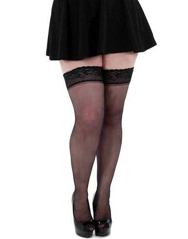 Seje Sorte selvsiddende strømper i store størrelser Pamela Mann Modetøj til Damer til enhver anledning