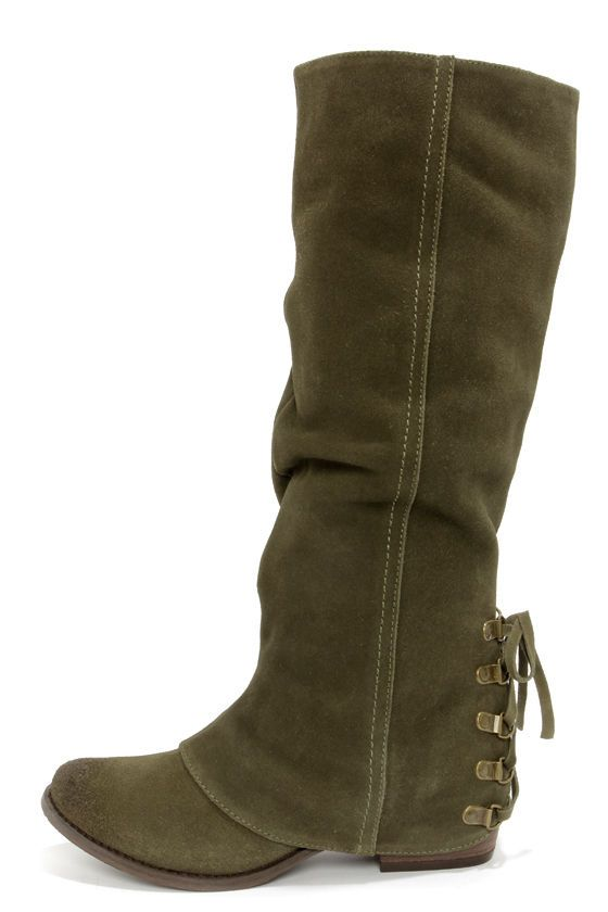 Naughty Monkey Chaotic Olive Leather Laced-Back Knee High Boots at LuLus.com!