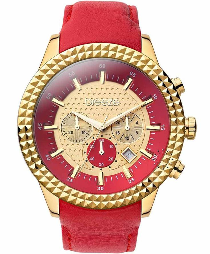 BREEZE Shinning Tribute Chrono Red Leather Strap Τιμή: 195€ http://www.oroloi.gr/product_info.php?products_id=35256