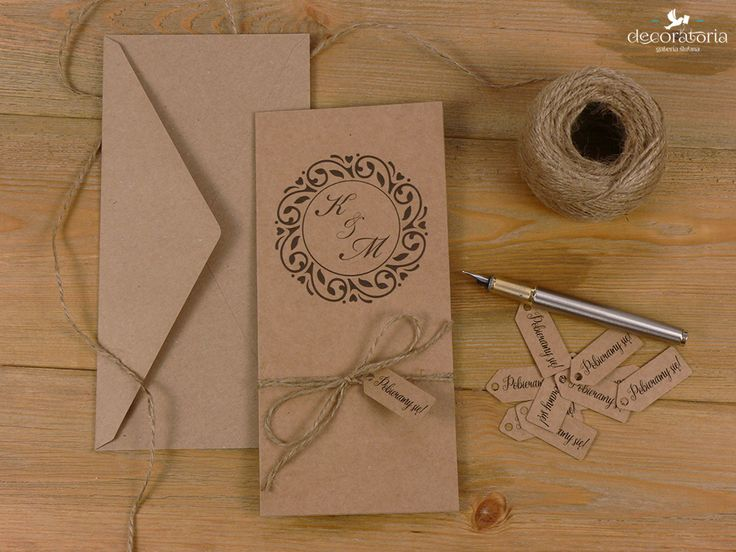 Eco wedding invites Zaproszenia ślubne - winietka papier ekologiczny i sznurek, w całości EKO