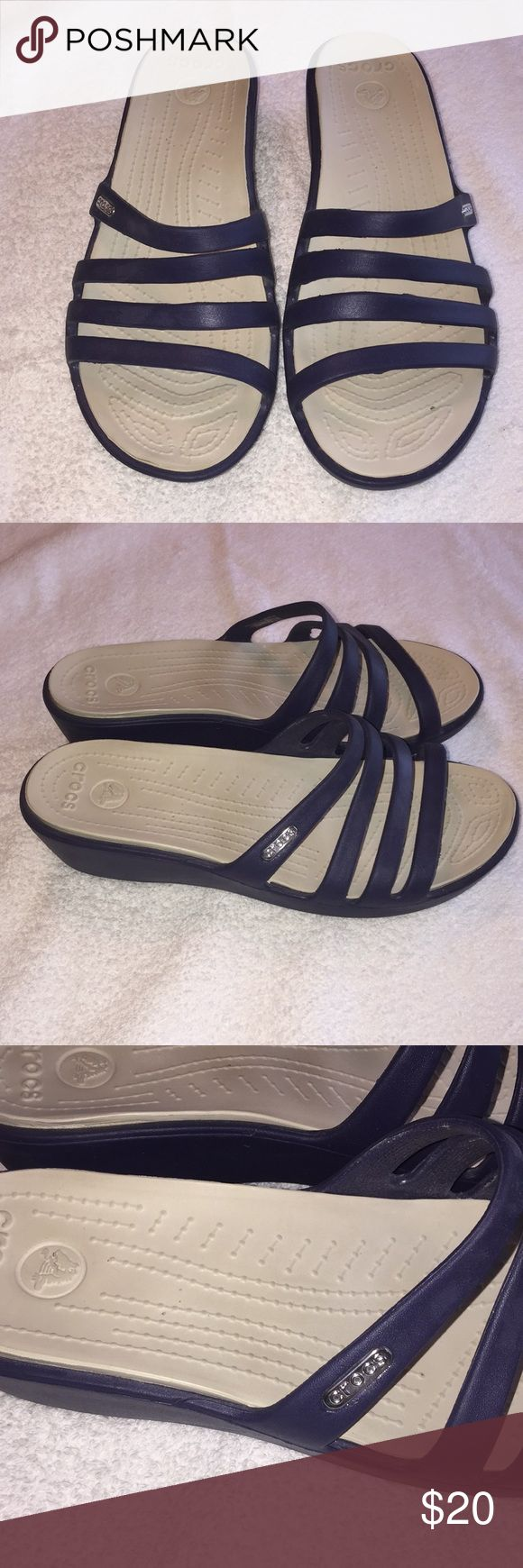 Women's Crocs brand sandals size 8. Women's Crocs brand sandals size 8. They have been worn once and are in good shape. They are navy blue in color. If you have any questions please let me. Thanks! CROCS Shoes Sandals
