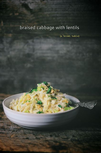 braised cabbage with red lentils by abrowntable, via Flickr